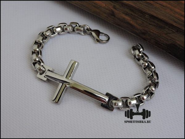 Браслет из стали мужской с крестом фото