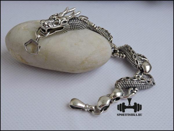 Браслет серебряный с драконом картинка