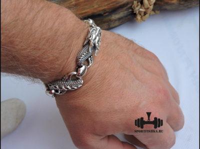 Серебряный браслет с драконом на руку