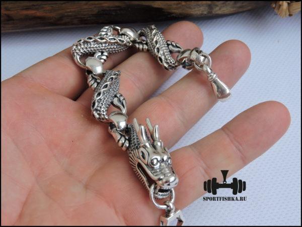 Смотреть фото серебряный браслет дракон
