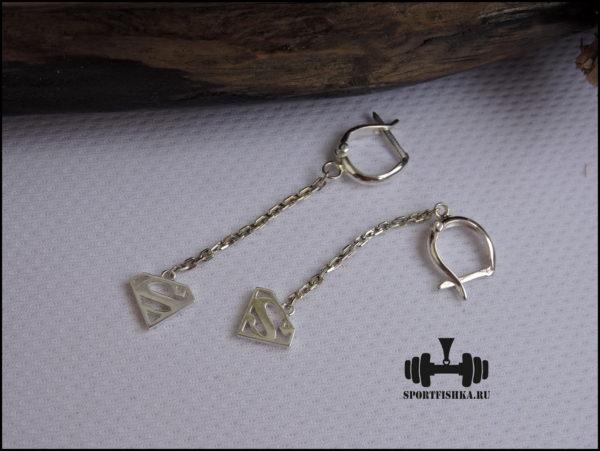 Спортивные серебряные сережки