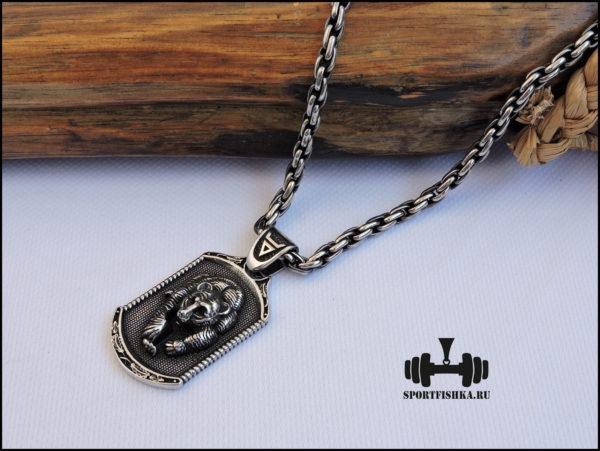 Славянский оберег медведь с цепочкой из стали