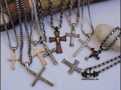 Стальные крестики с цепочками