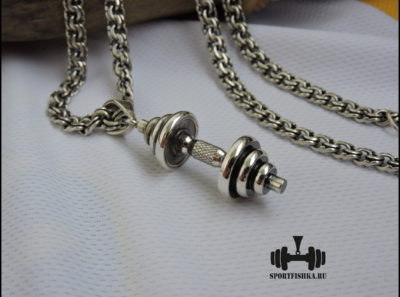 Гантель на цепочке серебро