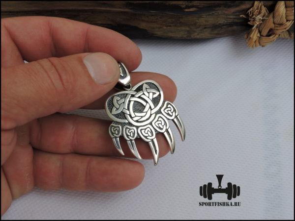 Кулон лапа печать велеса серебряный