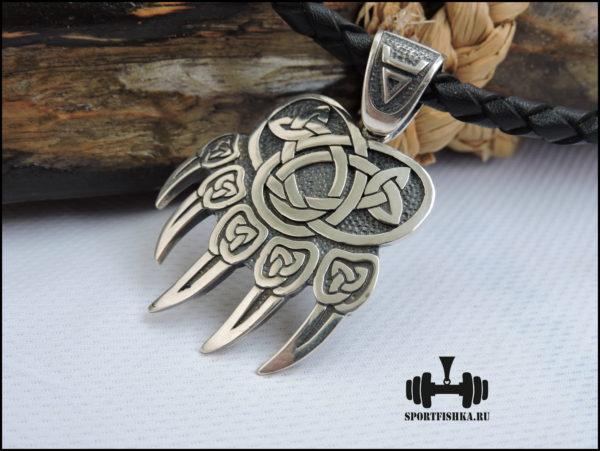 Лапа медведя серебряный оберег кулон