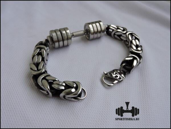 Массивный браслет из стали, подарок спортсмену на новый годМассивный браслет из стали, подарок спортсмену на новый год