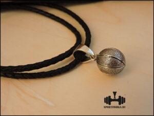 Баскетбольный мяч кулон серебро на кожаном шнурке