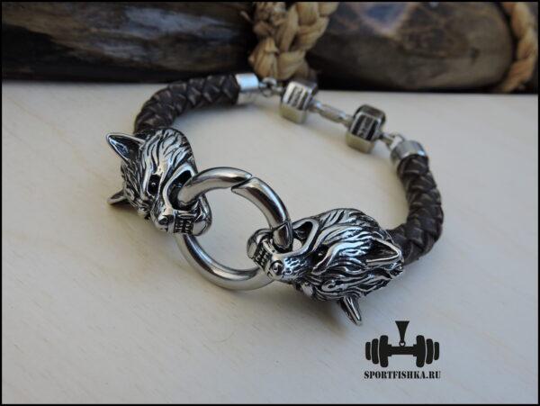 Кожа и сталь браслет с волком гантелей