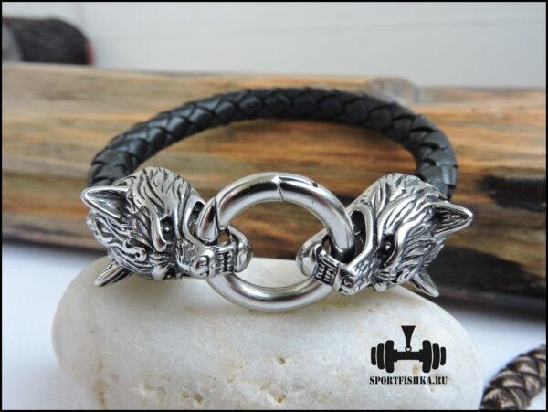 Кожаный браслет с волками из стали