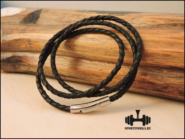 Кожаный шнурок с нержавеющий замком 4 мм