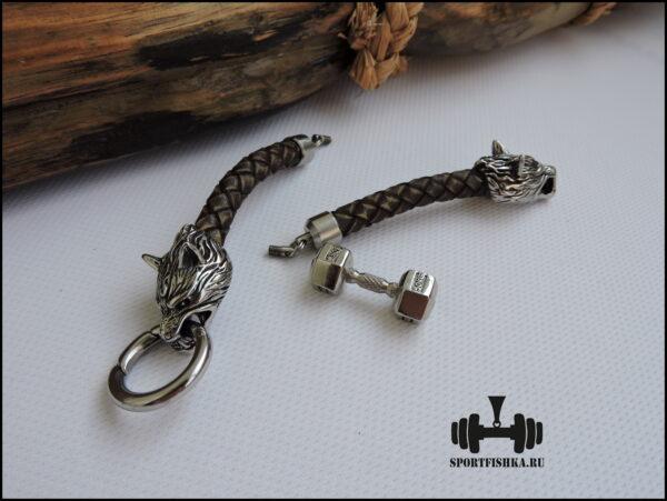 Подарок спортсмену кожаный браслет волки