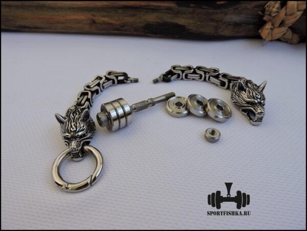 Разбираемый браслет из стали с волками