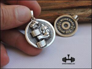 Кулон питбуль собака из серебра, медаль собаке