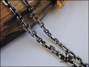 Цепочки якорного плетения чернение 6-8 мм